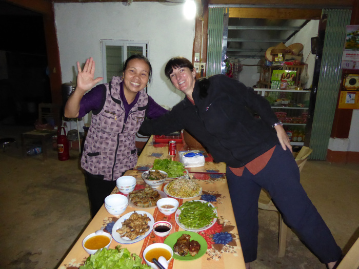 The girls celebrating their cooking!
